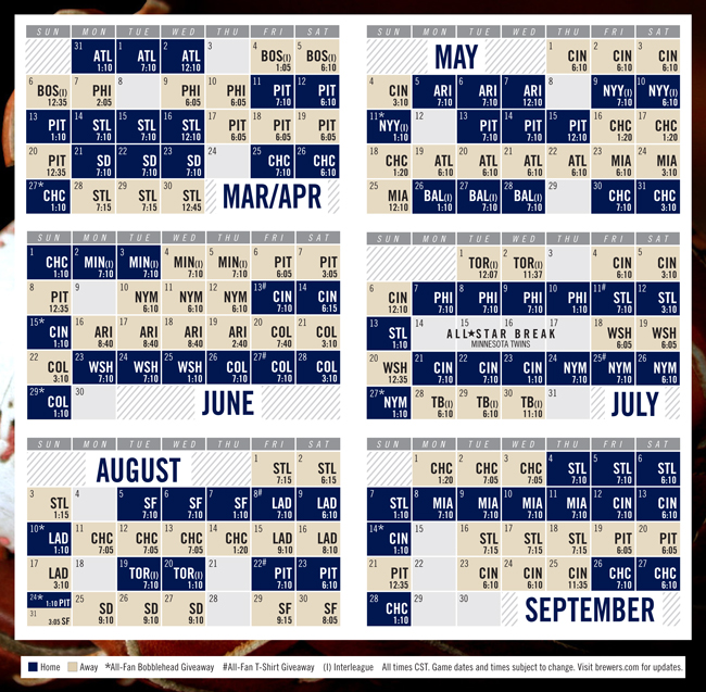 Hilaire image within printable brewers schedule