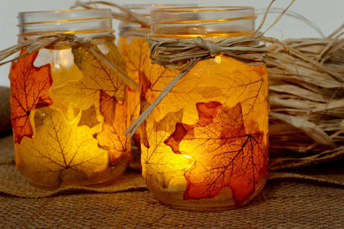 Shorewest shares diy autumn leaf mason jar candle holders for Mason jar candle crafts